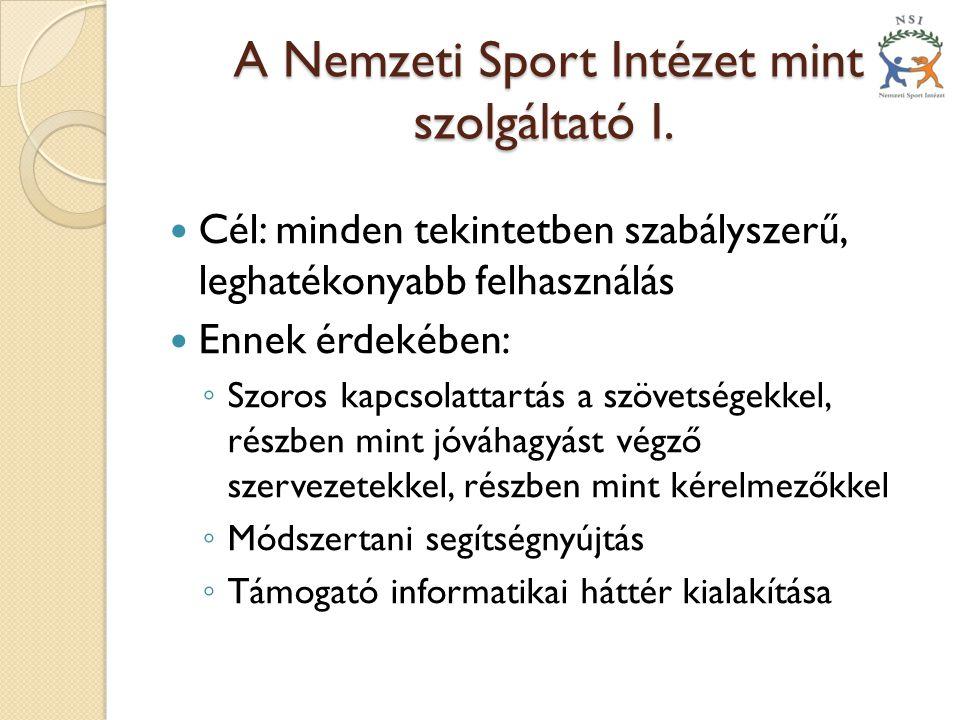 A Nemzeti Sport Intézet mint szolgáltató I.