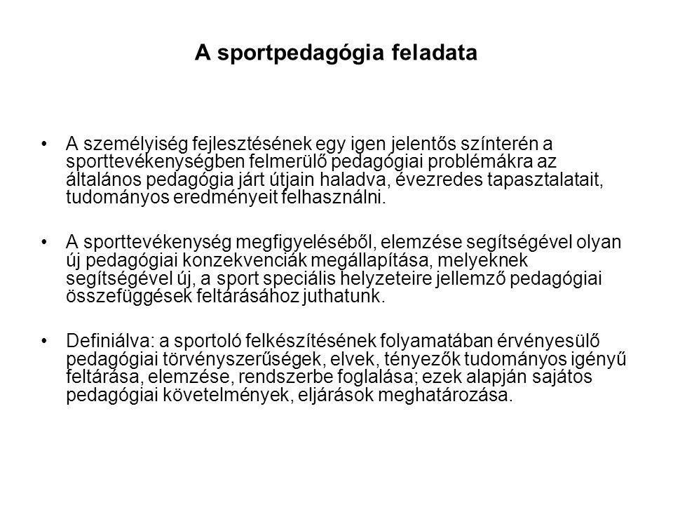 A sportpedagógia feladata