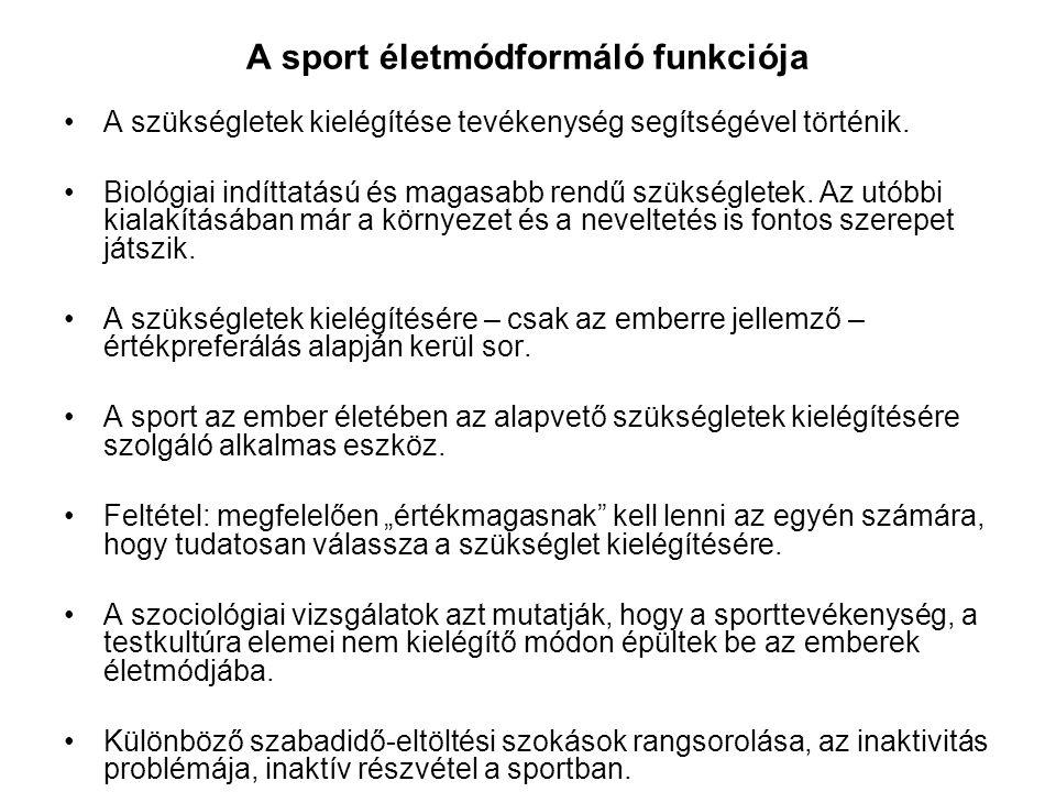 A sport életmódformáló funkciója
