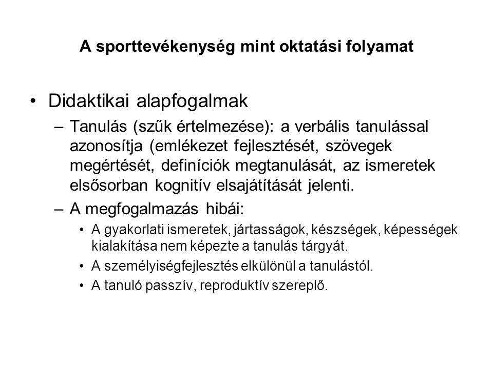 A sporttevékenység mint oktatási folyamat