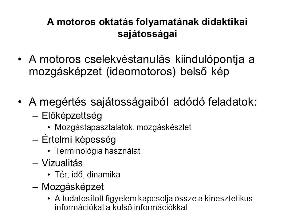 A motoros oktatás folyamatának didaktikai sajátosságai