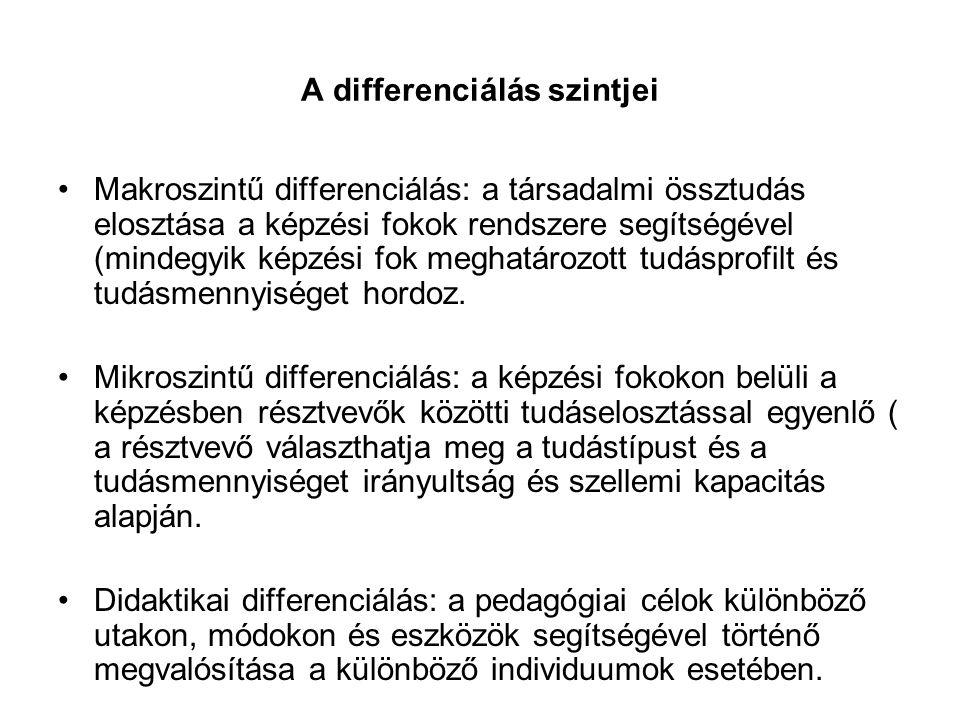 A differenciálás szintjei
