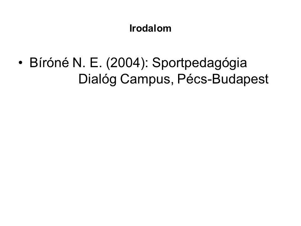 Bíróné N. E. (2004): Sportpedagógia Dialóg Campus, Pécs-Budapest