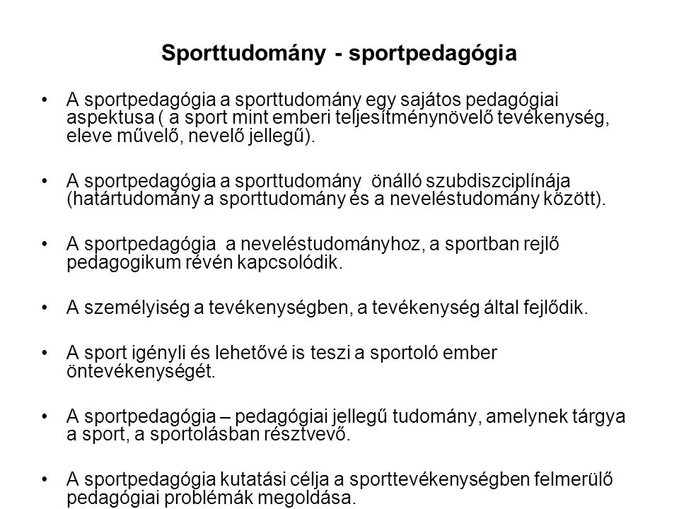 Sporttudomány - sportpedagógia