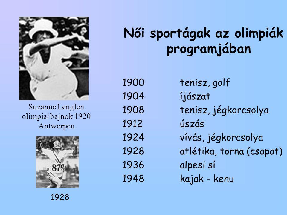 Suzanne Lenglen olimpiai bajnok 1920 Antwerpen