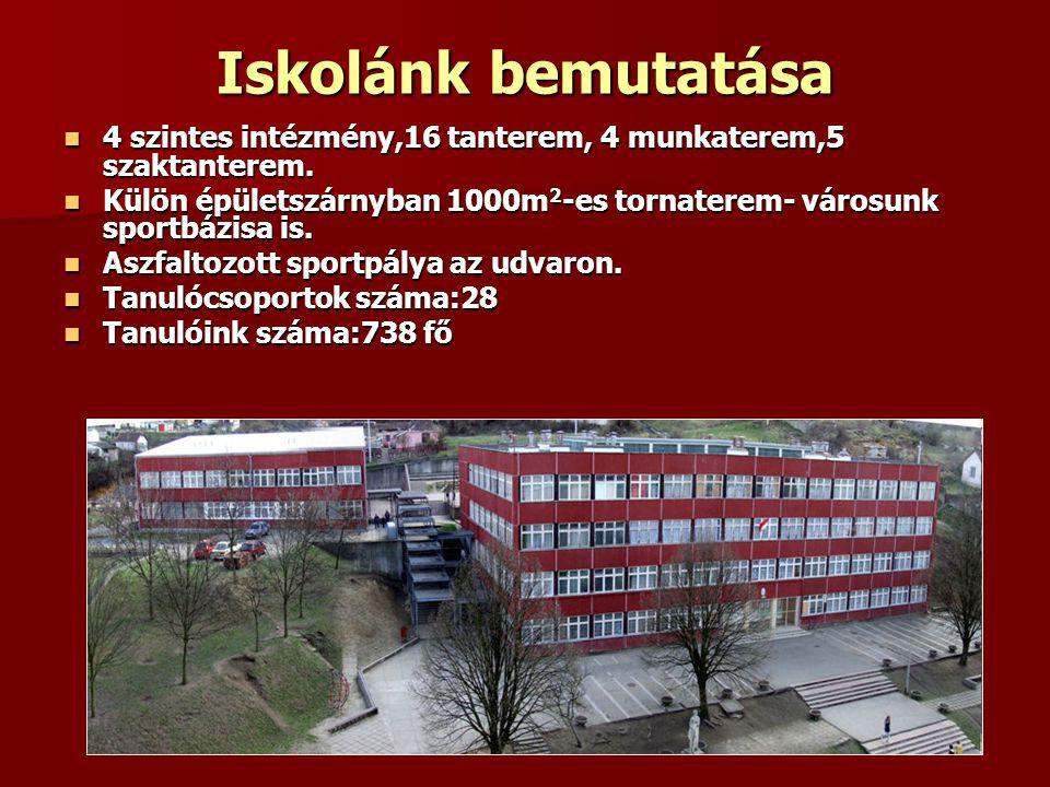 Iskolánk bemutatása 4 szintes intézmény,16 tanterem, 4 munkaterem,5 szaktanterem.