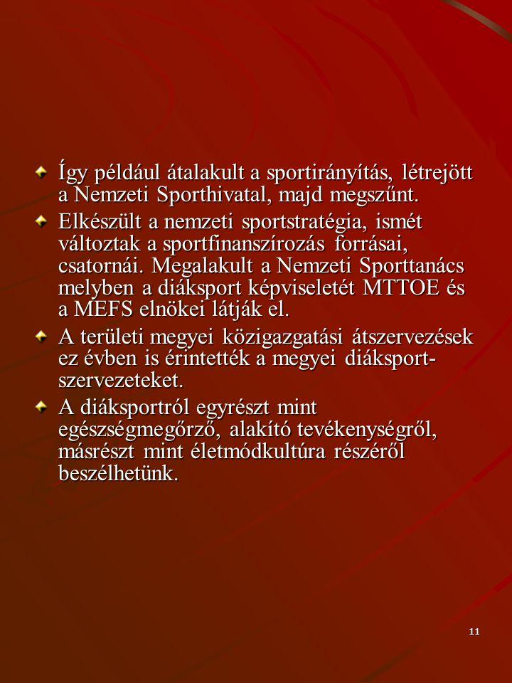 Így például átalakult a sportirányítás, létrejött a Nemzeti Sporthivatal, majd megszűnt.
