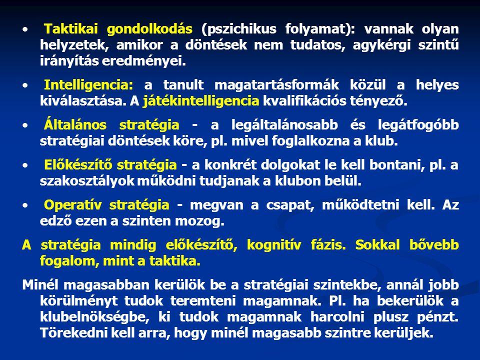 Taktikai gondolkodás (pszichikus folyamat): vannak olyan helyzetek, amikor a döntések nem tudatos, agykérgi szintű irányítás eredményei.