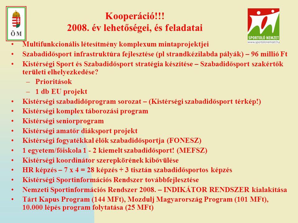 Kooperáció!!! 2008. év lehetőségei, és feladatai