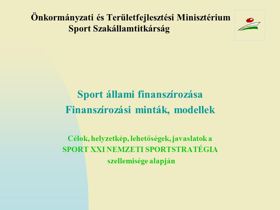Sport állami finanszírozása Finanszírozási minták, modellek