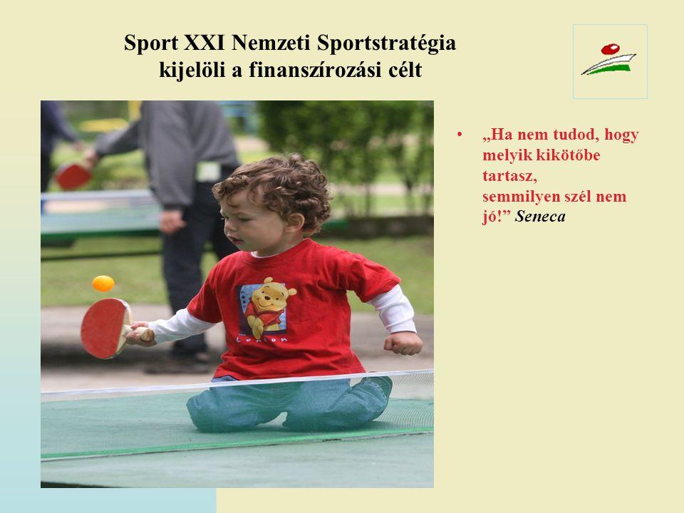 Sport XXI Nemzeti Sportstratégia kijelöli a finanszírozási célt