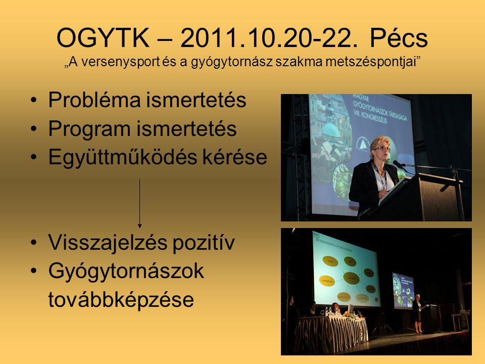 """OGYTK – 2011.10.20-22. Pécs """"A versenysport és a gyógytornász szakma metszéspontjai"""