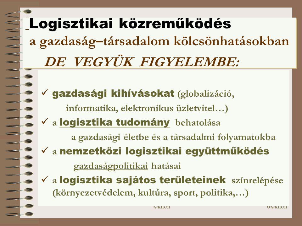 Logisztikai közreműködés a gazdaság–társadalom kölcsönhatásokban DE VEGYÜK FIGYELEMBE: