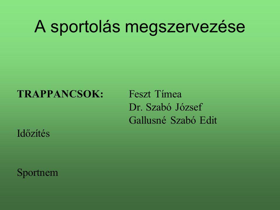 A sportolás megszervezése