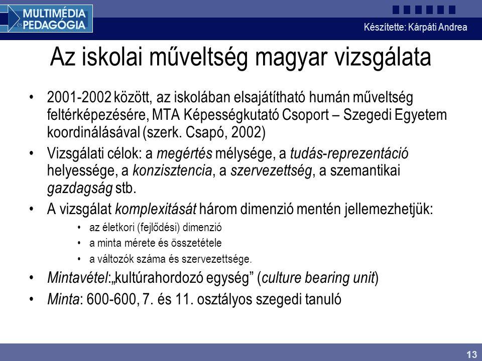 Az iskolai műveltség magyar vizsgálata