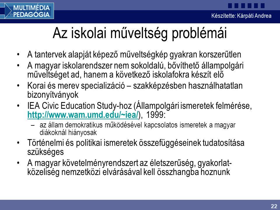 Az iskolai műveltség problémái