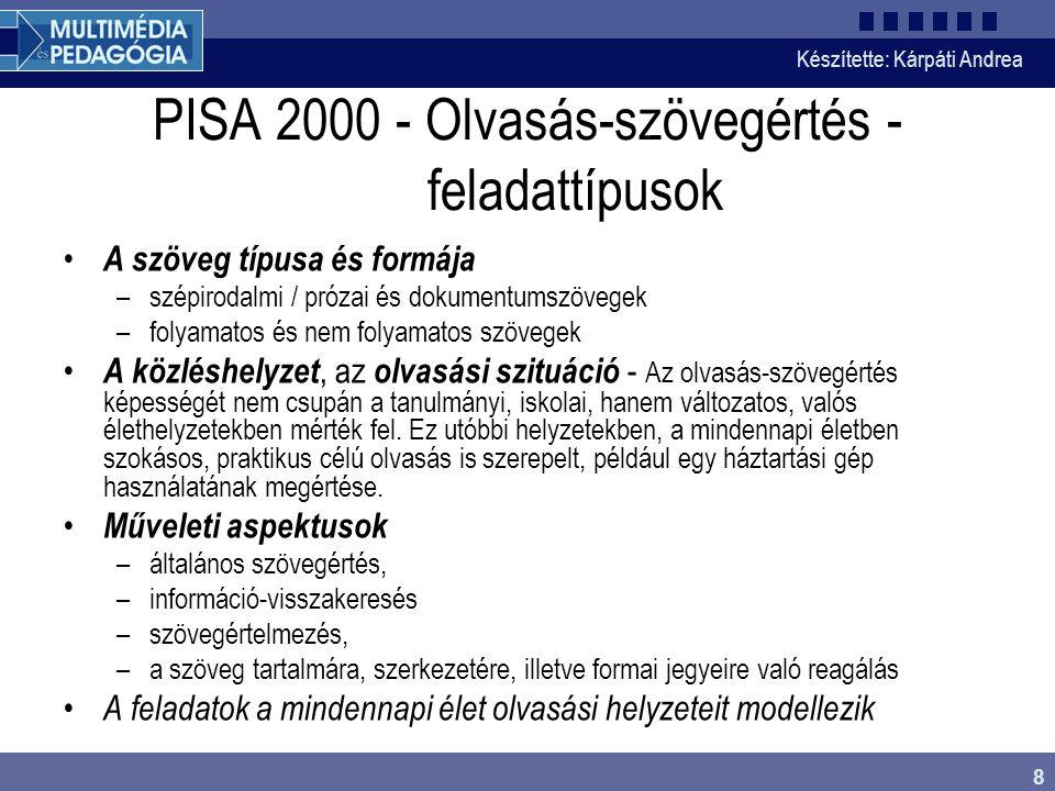 PISA 2000 - Olvasás-szövegértés - feladattípusok