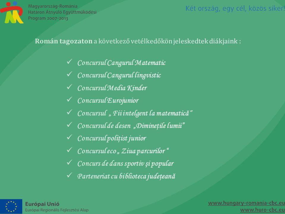 Román tagozaton a következő vetélkedőkön jeleskedtek diákjaink :