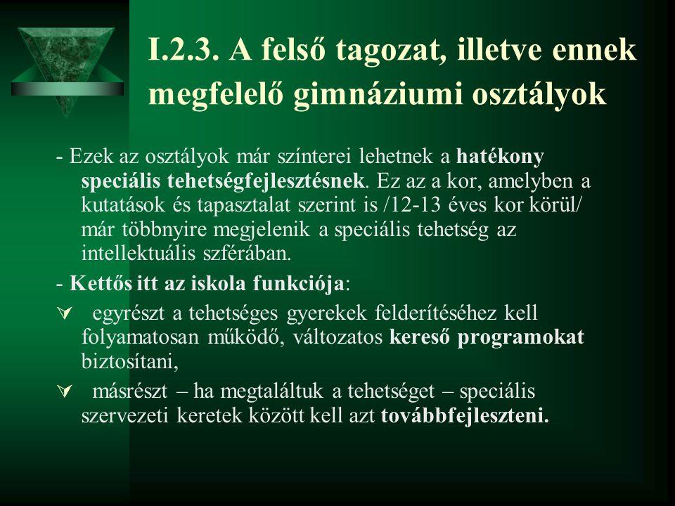 I.2.3. A felső tagozat, illetve ennek megfelelő gimnáziumi osztályok