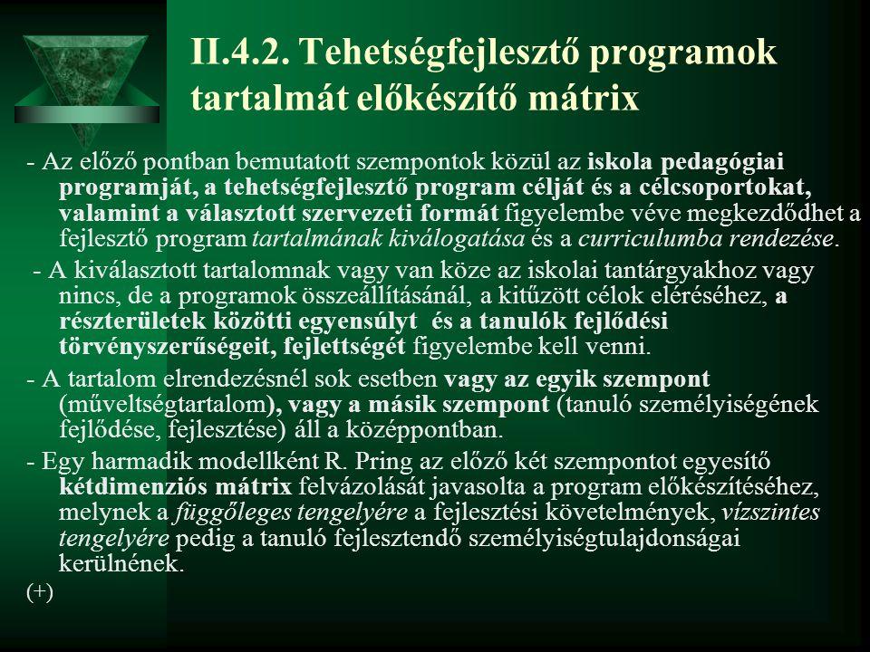 II.4.2. Tehetségfejlesztő programok tartalmát előkészítő mátrix