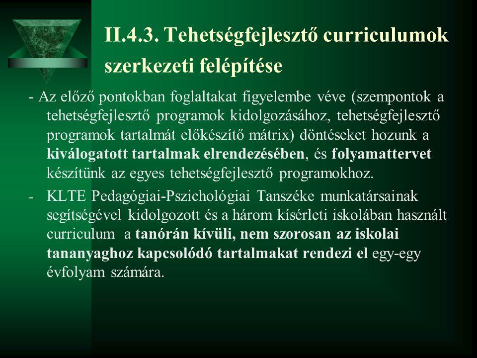 II.4.3. Tehetségfejlesztő curriculumok szerkezeti felépítése