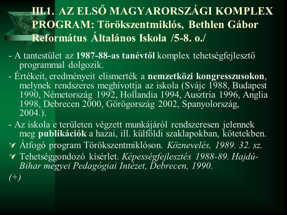 III.1. AZ ELSŐ MAGYARORSZÁGI KOMPLEX PROGRAM: Törökszentmiklós, Bethlen Gábor Református Általános Iskola /5-8. o./