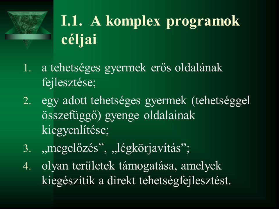 I.1. A komplex programok céljai