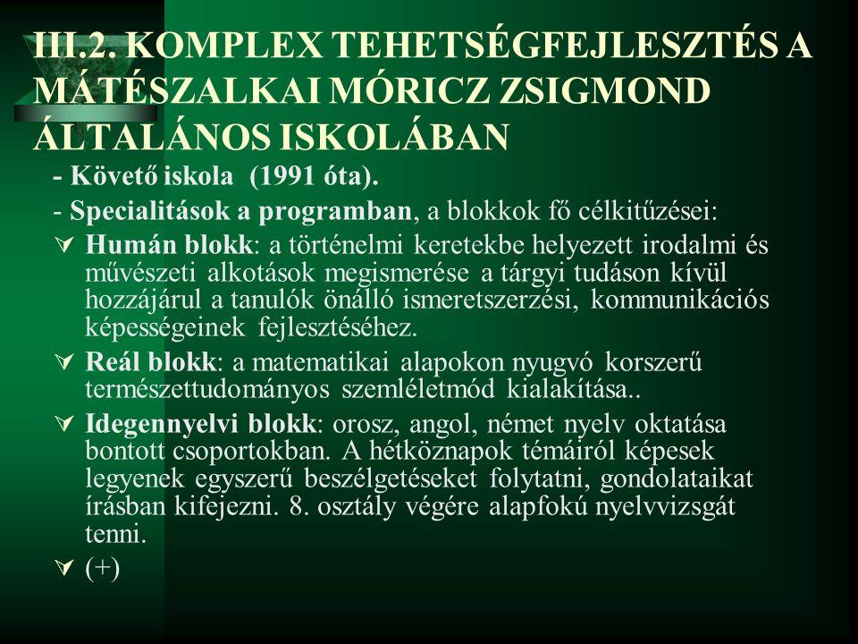 III.2. KOMPLEX TEHETSÉGFEJLESZTÉS A MÁTÉSZALKAI MÓRICZ ZSIGMOND ÁLTALÁNOS ISKOLÁBAN
