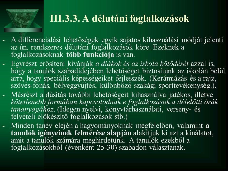 III.3.3. A délutáni foglalkozások