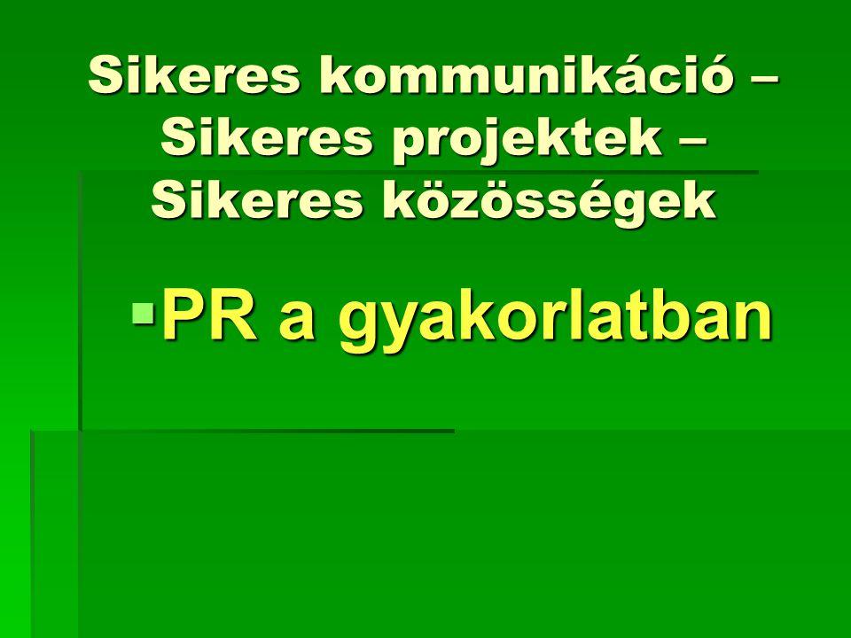 Sikeres kommunikáció – Sikeres projektek – Sikeres közösségek