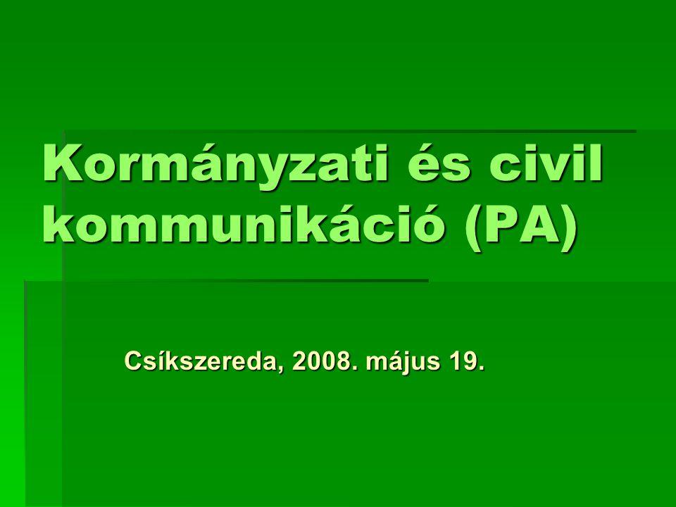 Kormányzati és civil kommunikáció (PA)