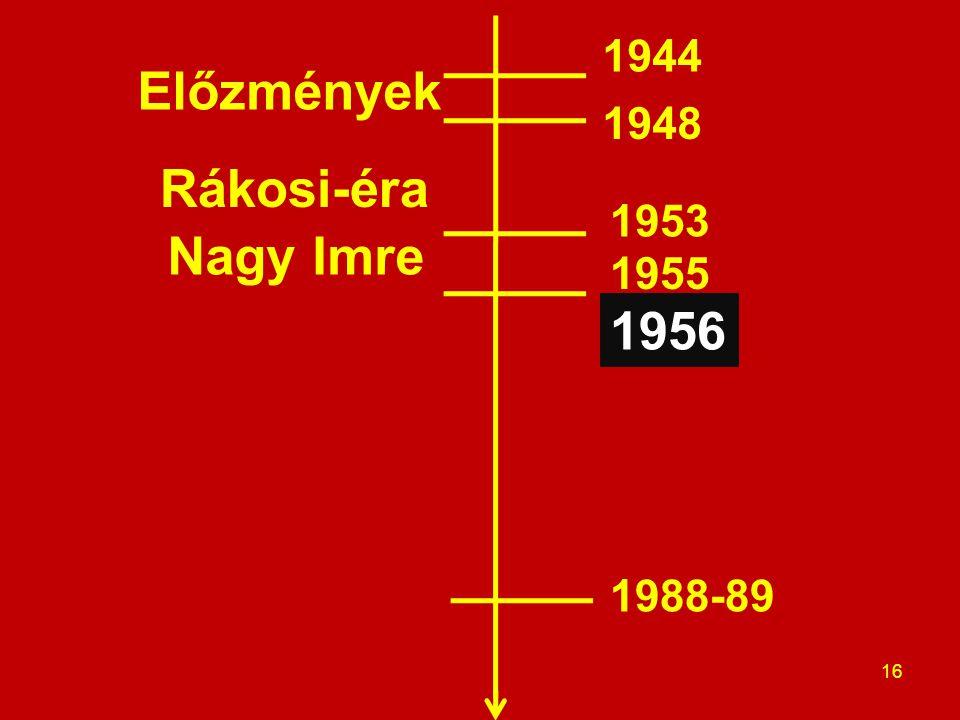 1944 Előzmények 1948 Rákosi-éra 1953 Nagy Imre 1955 1956 1988-89
