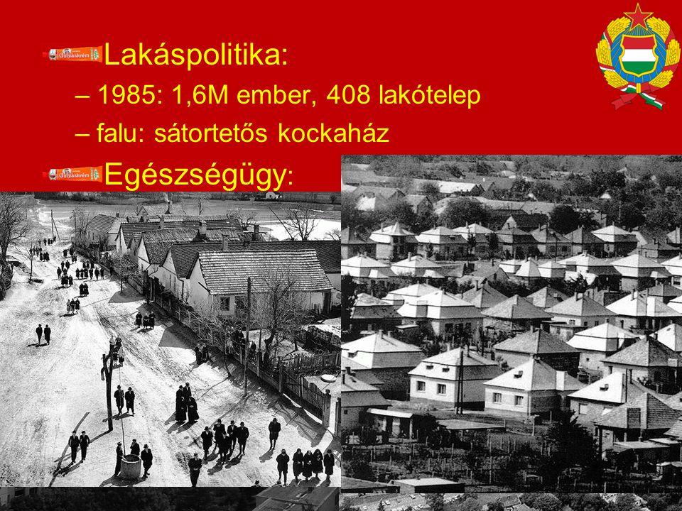 Lakáspolitika: Egészségügy: 1985: 1,6M ember, 408 lakótelep
