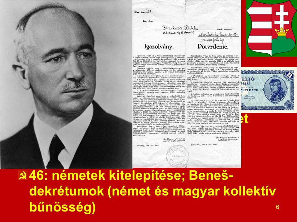Előzmények 1. Háborús pusztulás, hiperinfláció Szovjet felszabadítás