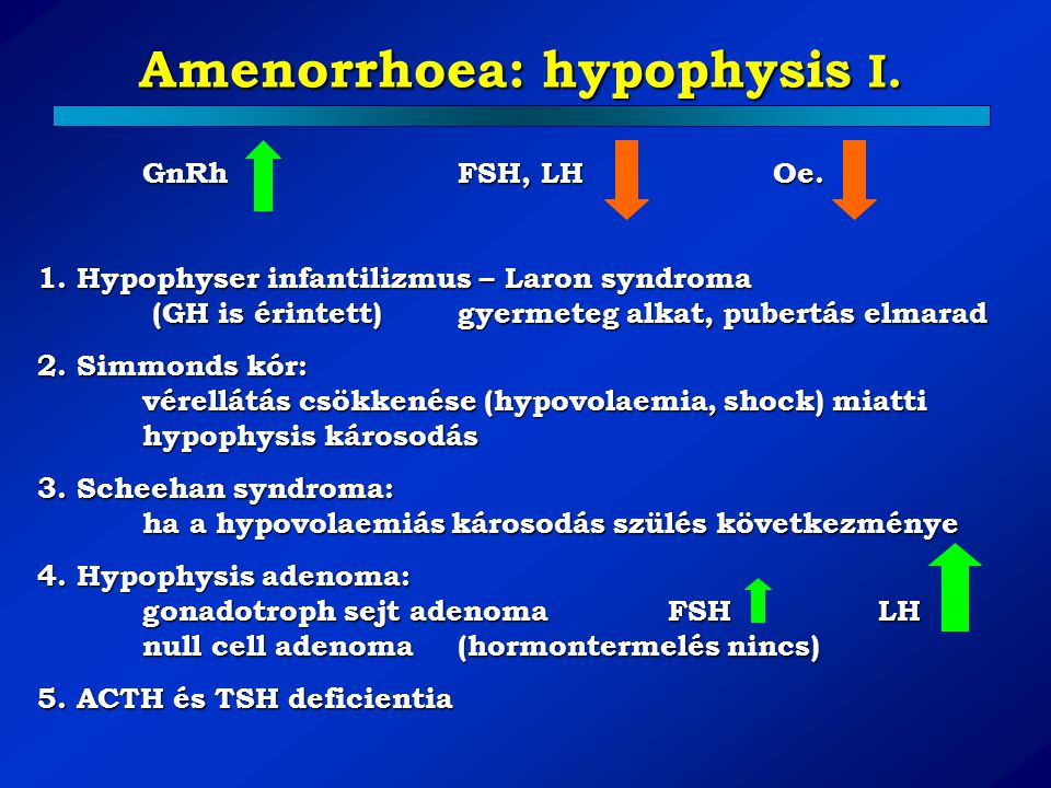 Amenorrhoea: hypophysis I.