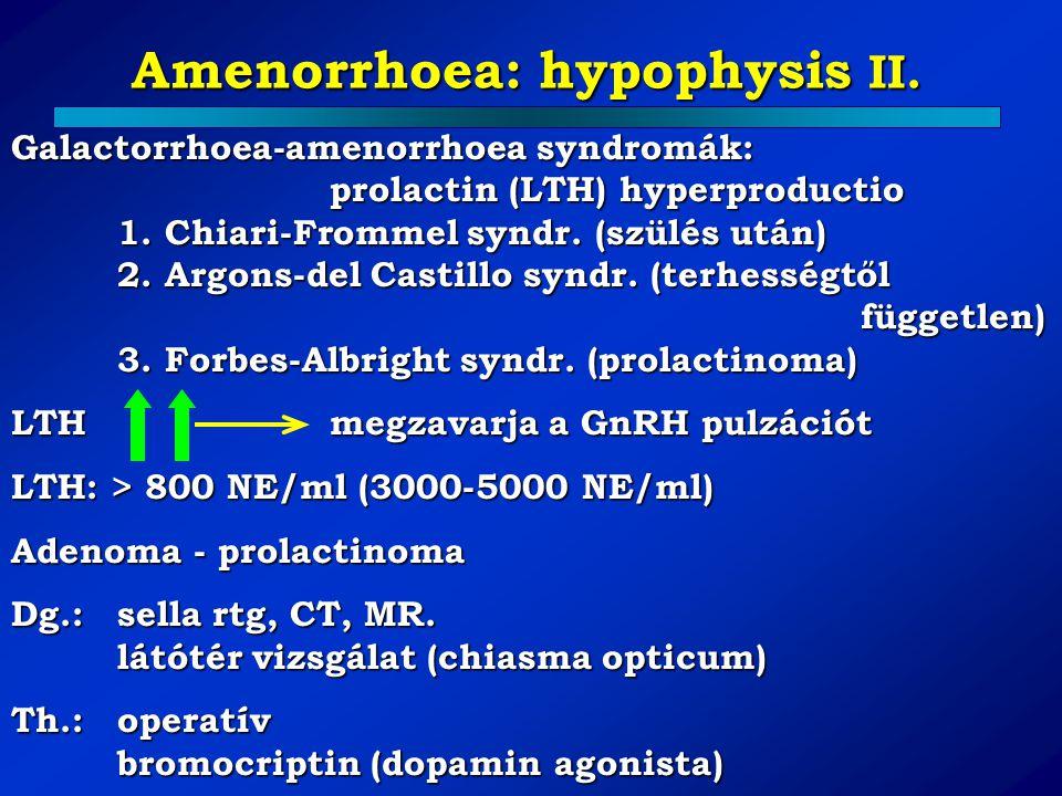 Amenorrhoea: hypophysis II.