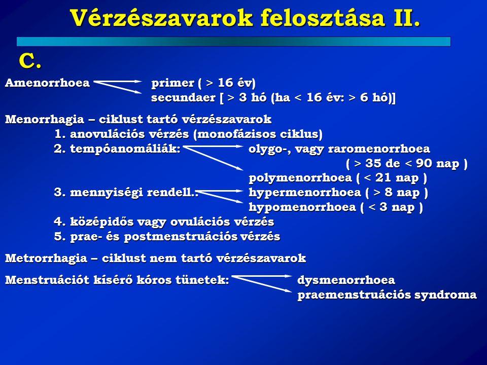 Vérzészavarok felosztása II.