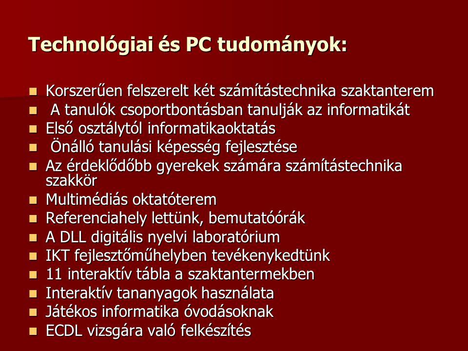 Technológiai és PC tudományok: