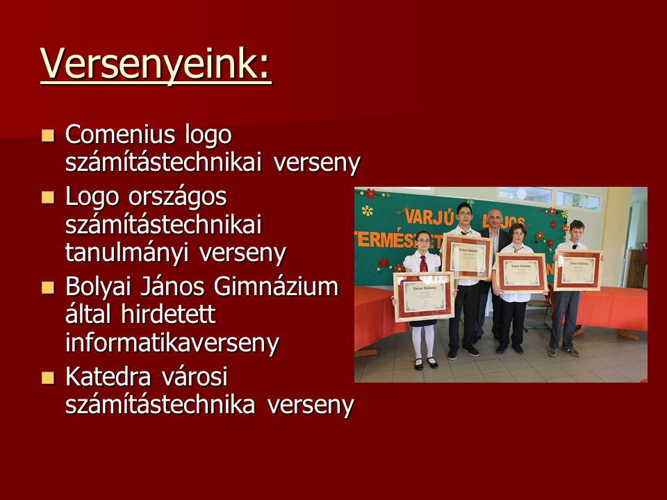 Versenyeink: Comenius logo számítástechnikai verseny