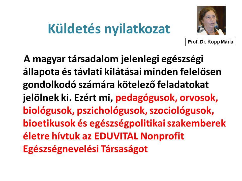 Küldetés nyilatkozat Prof. Dr. Kopp Mária.