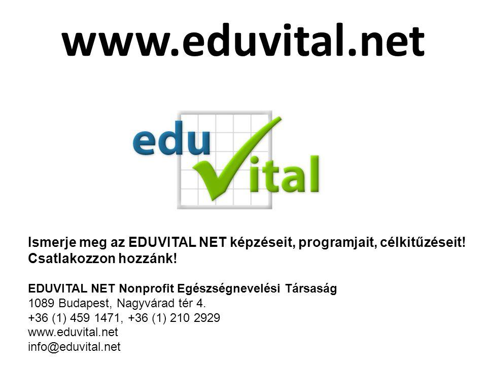www.eduvital.net Ismerje meg az EDUVITAL NET képzéseit, programjait, célkitűzéseit! Csatlakozzon hozzánk!