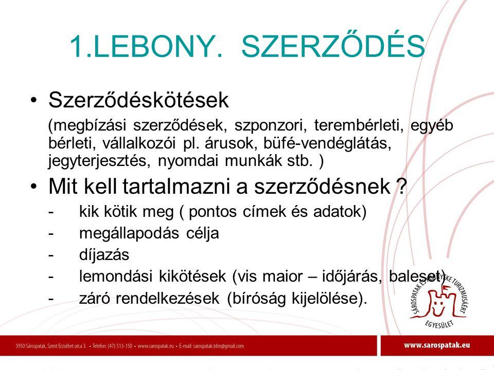 1.LEBONY. SZERZŐDÉS Szerződéskötések