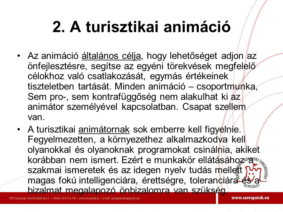 2. A turisztikai animáció