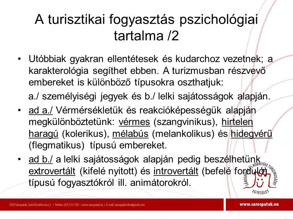 A turisztikai fogyasztás pszichológiai tartalma /2