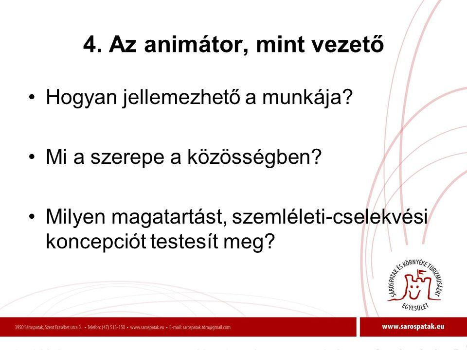 4. Az animátor, mint vezető