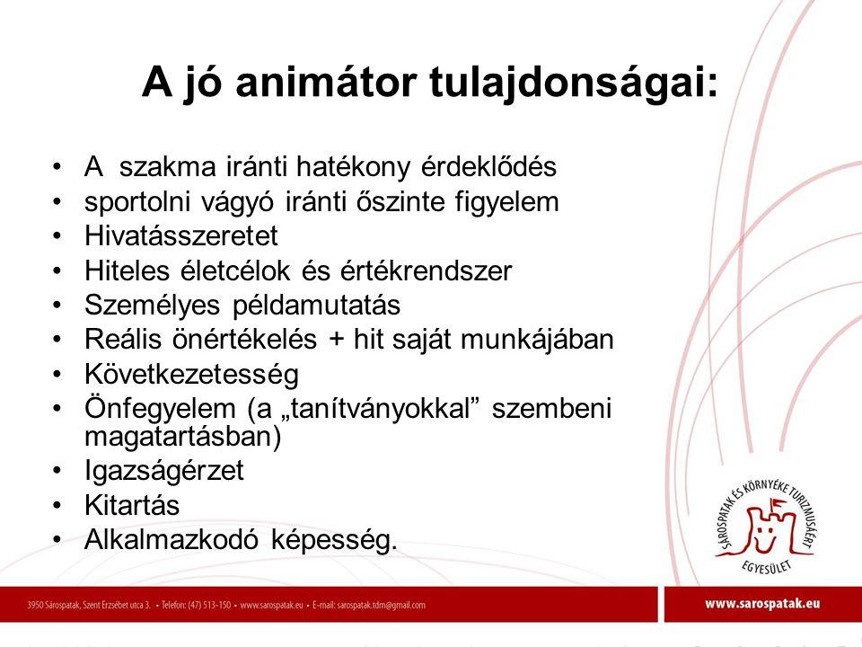 A jó animátor tulajdonságai: