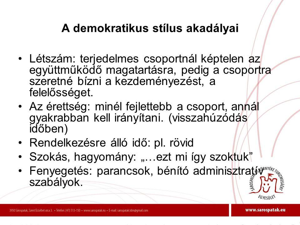 A demokratikus stílus akadályai