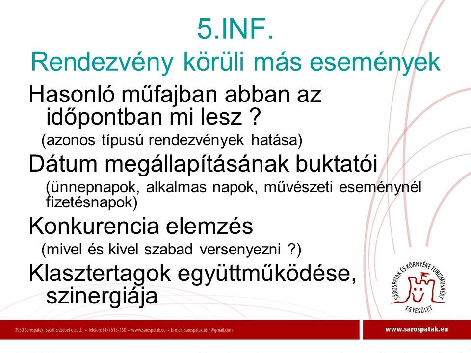 5.INF. Rendezvény körüli más események
