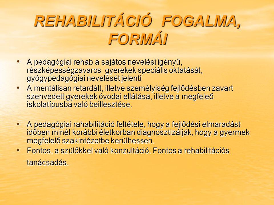 REHABILITÁCIÓ FOGALMA, FORMÁI