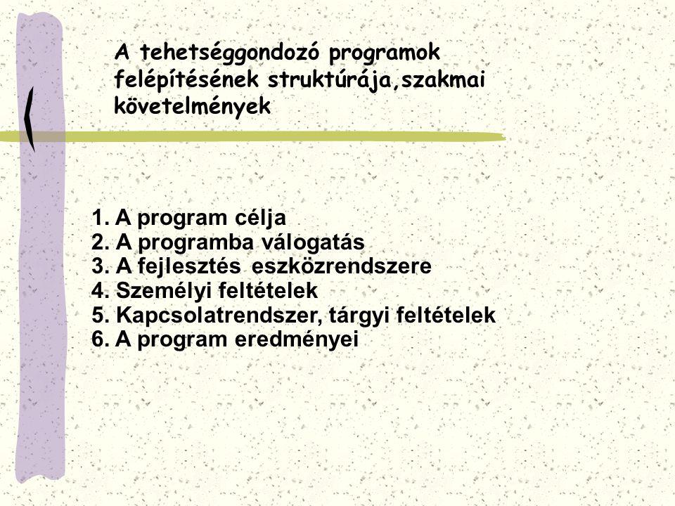 A tehetséggondozó programok felépítésének struktúrája,szakmai követelmények